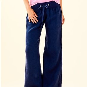 "Lilly Pulitzer 33"" Navy Linen Beach Pant Size S"